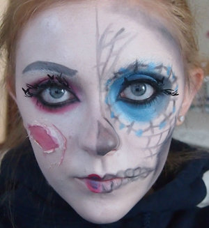 This was my first attempt at a skull type makeup.  I had a lot of fun just experimenting with this look!