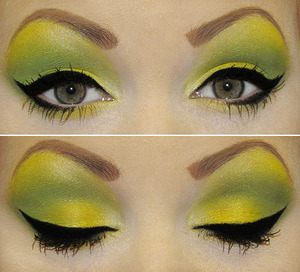 I used chicklet, canary songbook, & their newest pigment wicked witch! ~ [link]  Eyeliner I used Sephora's collection precise liquid black eyeliner. Primer I used E.L.F primer(personally not my favorite but couldn't find my sephora's primer pot) & for eyebrows I used N.Y.C taupe brow pencil.