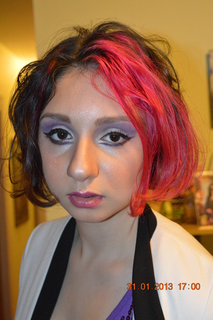 Model/actress Angelica wanted a Lady Gaga-esque type of makeup for a fashion show.