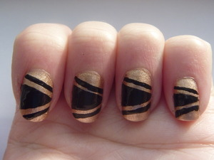 Black and Gold New Years Eve Nails, December 29 2011
