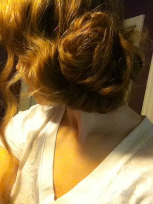 Just a messy-ish curly side bun, super easy!