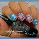 Romantic Plaid Nails | Baby Pink And Blue Plaid Nail Art