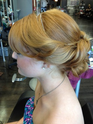 Prom up-do side view, beautiful hair color & texture