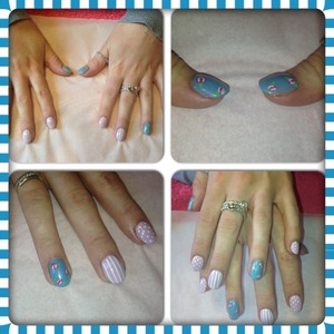 Acrylic nails with nail art done by me