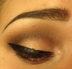 """-""""Cream"""" and """"White"""" to highlight the brow bone  -""""Gold"""" all over the lid -""""Taupe"""" in the crease and blended up towards the brow -""""Sable"""" and """"Espresso"""" concentrated in the crease -""""Nude"""" to  highlight the inner corner   Eyebrows - playing around with Stila liquid liner in """"Dark Brown""""  haha a little dramatic"""