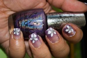 Purple gradient with white floewrs