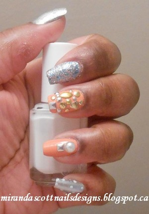 For this manicure the polishes I used were China Glaze Peachy Keen,Hard Candy So So Sequin, Sally Hansen Celeb City and Essie Marshmallow. I applied a mix of Born Pretty Store's Studs and one pearl I purchased from a arts and craft store.
