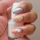 Silver and Peach Nails
