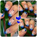 Blue French Tip Nail Art | Floral Nails