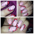 Floral newspaper valentines day nails