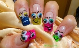 Fun Smileys, 3D Googley Eyes Nail Art Design Tutorial - ♥ MyDesigns4You ♥