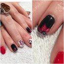 Red White and Black flower nail art