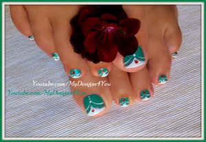 "French Tip Toenail Art | Green MadamGlam Toenails. Get your 30% OFF these fantastic Vegan, 5 free, Cruelty-free polishes by MadamGlam here: http://madamglam.com/?utm_source=yt-LiudmilaZ USE COUPON CODE ""LiudmilaZ30"""