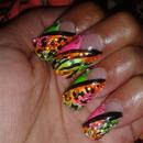 Zebra, Neon Nails