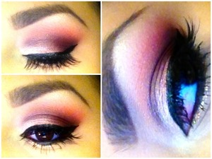 Smokey Red and Brown eyeshadow using Mac and Urban Decay. I also used Nyx glitter on my bottom lash line. Falsies are from the Crème line.