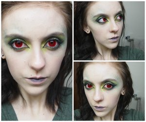 This is a reptile inspired makeup that I did today with red colored contacts I made myself!!!
