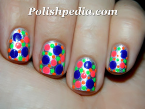 Going to a party or disco party?  These nails would be perfect for that. :)  See what products were used @ http://polishpedia.com/bright-dotted-nails.html