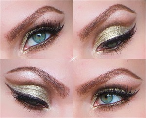 1. Prime the eyelids. Use a brown contour pencil and trance a line along the crease making the edge continue up versus the end of the eyebrow. Smudge that out.  2. Over apply and blend out RADAR or a brown shiny eyeshadow.  3. Over the brown blend in HABIT and highlight with VIRGIN (naked palette) under the eyebrows. Apply NYX jumbo eyepencil over the mobile eyelid and over it apply HONEYMOON (Too Taced Romantic Eyeshadow)  4. With the brown contour pencil trance a line under the lower lashline and continue out. Smude it out a bit.  5. Over apply and blend out RADAR. 6. Line upper and lower waterline with UD 24/7 glide-on eye pencil in DEMOLITION.  7. Apply a brown cake eyeliner and make a wing.  8. Apply mascara and false eyelashes.
