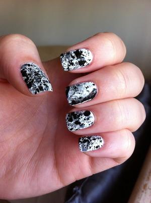 # 7 - black and white nails  splattered =)