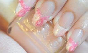 Pink Awareness Ribbon Inspired French tip nail art tutorial