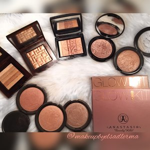 Becca champagne Pop yellow peach gold tone  Becca opal pale gold Becca rose gold red rose tone used more as blush  Anastasia glow kit that glow beautiful for work days  Anastasiabeverlyhills Sundipped my go to there all beautiful and lean more for summer to me
