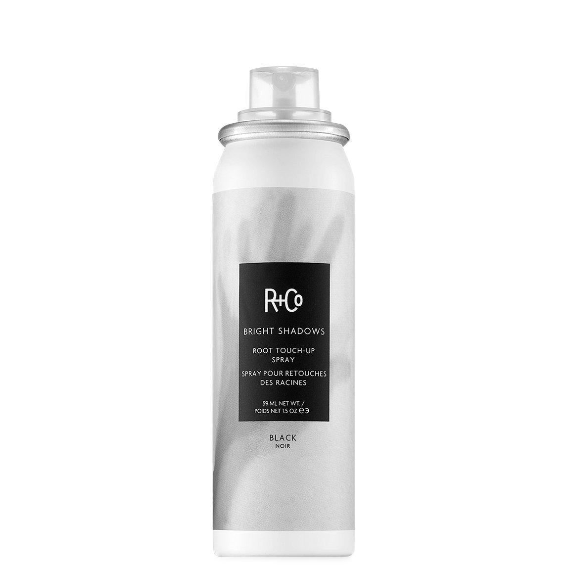 R+Co Bright Shadows Root Touch Up Spray Black product swatch.