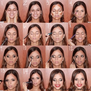 glittery smokey eyes, highlight & contour, and red lips!