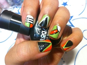 Its a mix and match design,maybe a little bit of abstract too.Detail & Striping brush being used to create this nails.