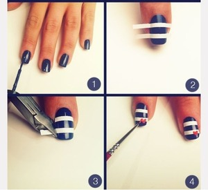 Navy blue and white stripes with cute little heart, easy step by step guide xxx :)