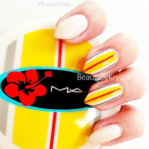 This week on the Busy Girl's Summer Nail Art Challenge is stripes. I used my 2011 MAC Surf Baby bronzing compact as the inspiration behind my nail art. http://www.beautybykrystal.com/2013/06/mac-surf-baby-striped-nails.html #busygirlnails