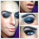 Teal Smokey Eye with Nude Glossy Lip