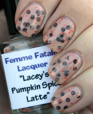 How gorgeous is this polish?! I absolutely love it! Lacey's Pumpkin Spice Latte is a milky beige base with small orange hex glitters and large brown hex glitters that shine orange. I have one coat of Lacey's Pumpkin Spice Latte over 2 coats of OPI Samoan Sand so I can make this gorgeous polish last longer. The top coat I used is Out The Door.  Make sure you check out Femme Fatale Lacquer's shop! http://femmefatalelacquer.bigcartel.com  Also check out her facebook page! http://facebook.com/femmefatalelacquer  And you can follow her on Instagram @femmefatalelacquer  Full Blog Post: http://packapunchpolish.blogspot.com/2012/12/laceys-pumpkin-spice-latte-by-femme.html