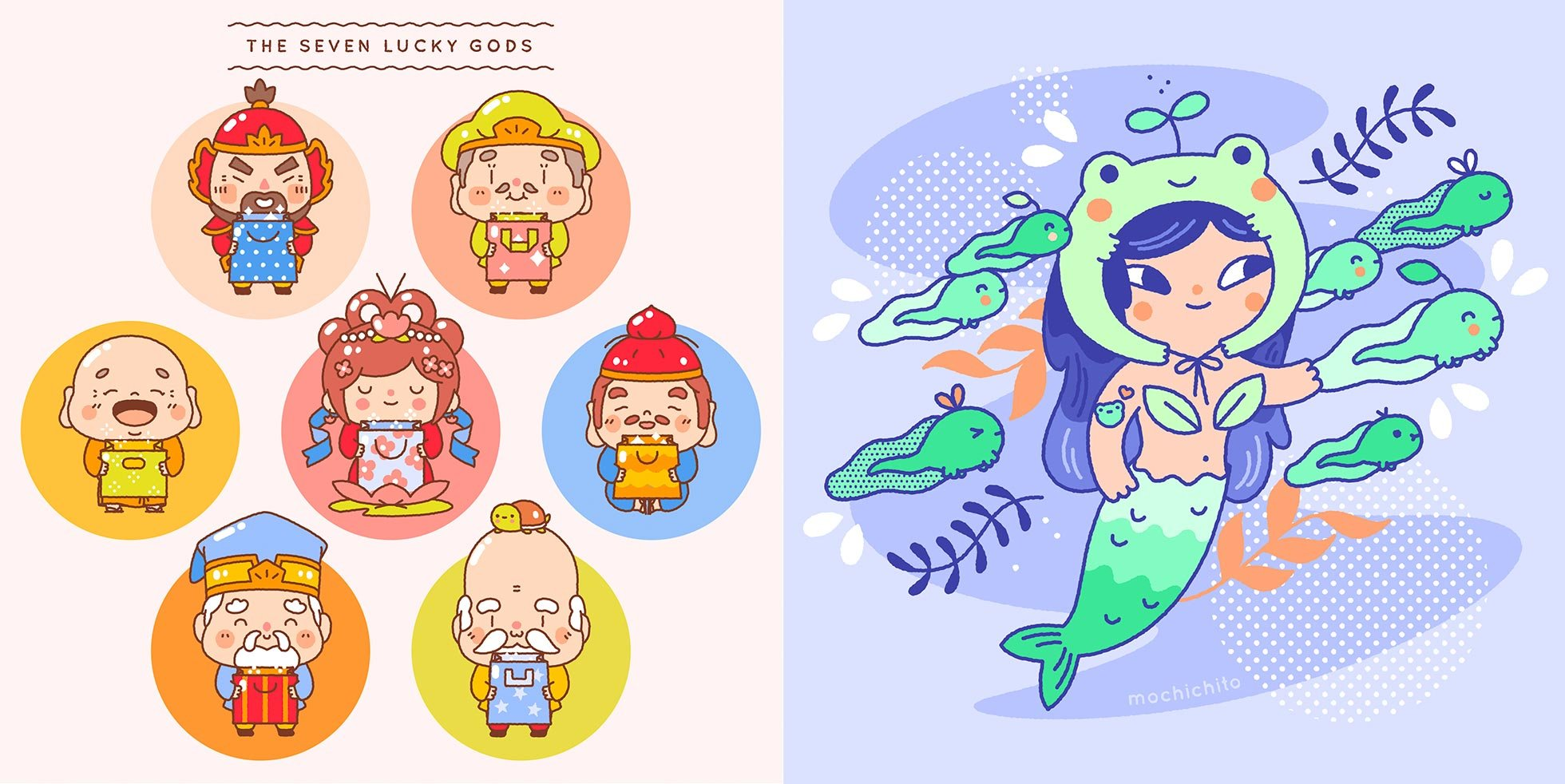 Left: Beautylish Lucky Bag 2018 Illustrations, Right: Mermaid and Frogs by Steph Fung/Mochichito