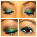 green with bright blue liner