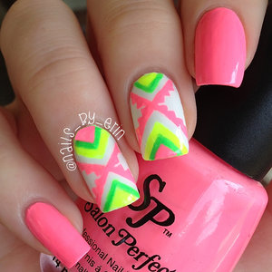 """I've been really inspired by @nailsbysophiaa (on Instagram) nails lately; she has perfect short nails and does the most beautiful designs! I saw her neon Aztec nails a few days ago and I decided to do this mani inspired by hers.   I used Salon Perfect """"Sugar Cube"""", """"Loopy Lime"""", """"Tickled Pink"""", and """"Yowza Yellow"""". Topped with Salon Perfect Crystal Clear top coat."""