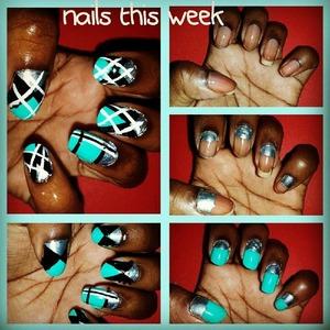 Argyle fall print nails