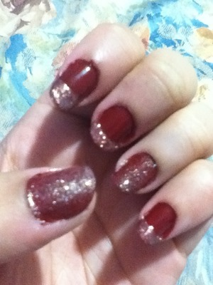 Revlon Red Raven (Base colour) NYX Girlz Roots (tips and on top of red raven on thumb and ring finger)