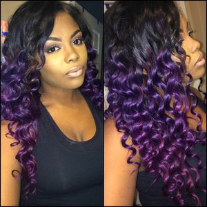 Used Adore Semi Permanent hair color in black velvet, purple rage, and violet gem