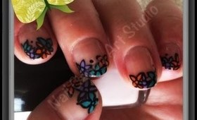 ~ Short Nail Art ~ Flower French Manicure ~