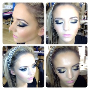 Using pigments to create a yellow and grey smokey eye with false lashes and a pink lip