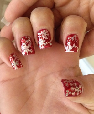 Snowflakes on red!