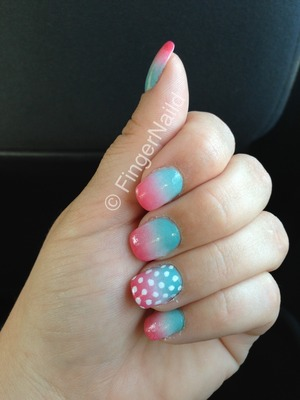Ombré faded blue white pink with white polka dots. Fast and simple.