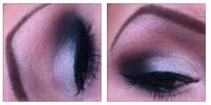 silver and black smokey eye!