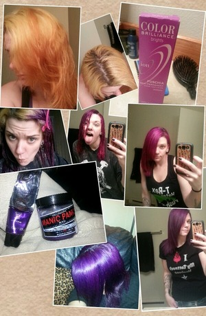 I had started bleaching my hair at the end of Jan/14 with a goal to go blonde. I couldn't get the orangey tones out of the lengths of my hair so I decided to apply a fuscia color and then added the purple over that. My results were AWESOME!!