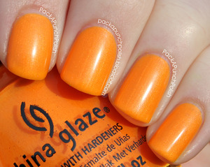 Orange You Hot is a neon orange shimmer! It's part of the Summer Neons Collection. This is 2 coats without top coat.  Full Blog Post: http://packapunchpolish.blogspot.com/2012/12/china-glaze-orange-you-hot.html