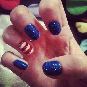 Two coats of blue on each nail (except ring finger). Two coats of red on ring finger. White stripes painted on ring finger (2 coats). Blue Glitter applied to blue nails. MultiColored Glitter applied to ring finger. Top Coat. ORLY - clear top coat Funky fingers blue Unknown red color