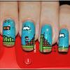 Super Mario themed nail art