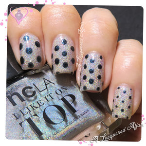 Dot nail art with COVET London Captain over 4 coats of NCLA Shimmer Me Pretty.  More on the blog: http://www.alacqueredaffair.com/Covet-London-Captain-Cassiopeia-NCLA-Shimmer-Me-Pretty-34738621