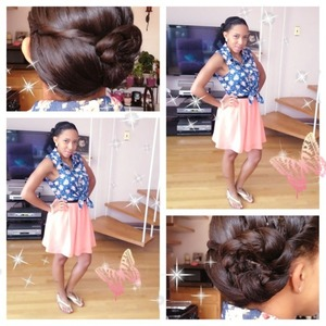 twist from front to back then gathered the rest of the hair from the side and created a rope bun!!  OOTD- off to the mall look