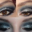 Blue & Silver Glittery Cut Crease
